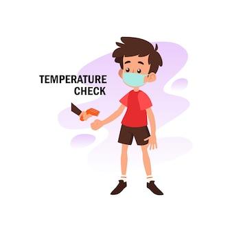 Плоская иллюстрация характера, делающего проверку температуры для предотвращения от вируса короны