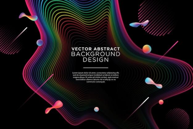 小さな液体のデザインとカラフルな抽象的な背景