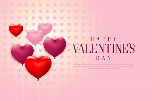 С днем святого валентина с реалистичными воздушными шарами в форме сердца и розовым фоном баннера