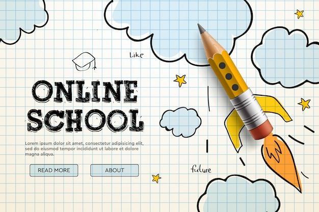 オンライン学校。デジタルインターネットチュートリアルとコース、オンライン教育。ウェブサイトおよびモバイルアプリ開発用のバナーテンプレート。落書きイラスト