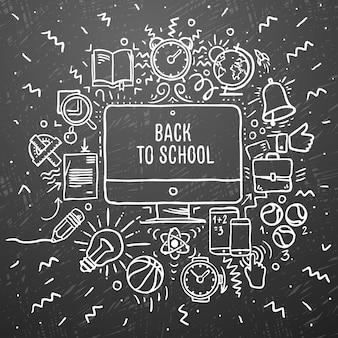 学校に戻る。黒い黒板にチョーク図面の学校アイテムを落書き、