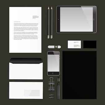 ビジネス文具ブラックカラー。コーポレートアイデンティティのモックアップ。ベクトルイラスト。