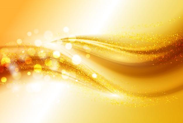 滑らかな光の金の波線とレンズフレアは抽象的な背景をベクトルします。