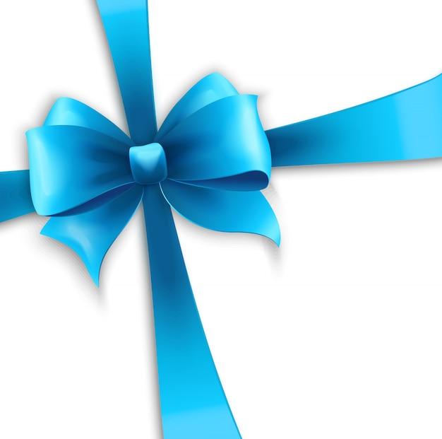 Пригласительная открытка с синей праздничной лентой и бантом