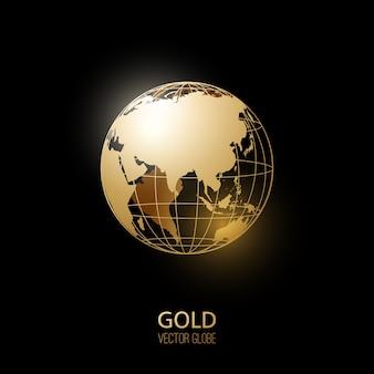 Золотой глобус на темноте