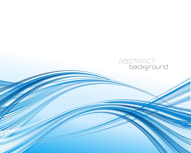 青い曲線波とテンプレートの背景を抽象化します。