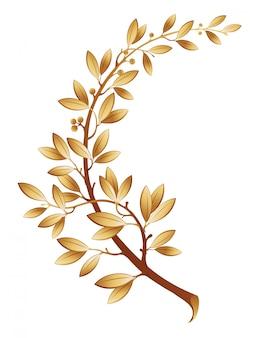 Иллюстрация содержит изображение золотой лавровой ветви