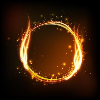 炎で光沢のある丸いフレームと暗い背景