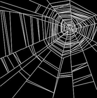 Белая паутина, изолированная на черном фоне