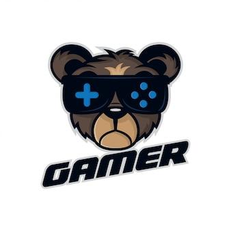 ゲーマーのロゴのためのベアスポーツイラスト。