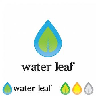 水滴、葉のロゴイラストテンプレート。