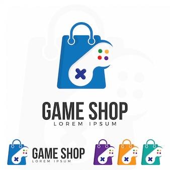 ゲームショップロゴイラストベクトル。
