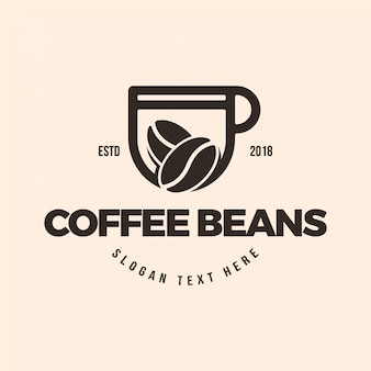 コーヒーカップとコーヒー豆のロゴイラストのテンプレート