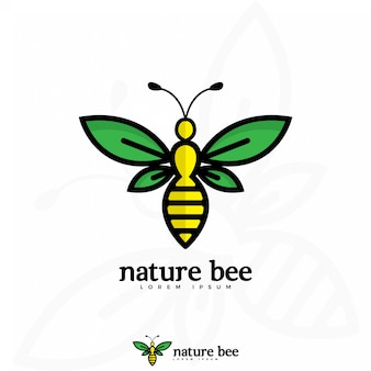 自然の蜂のロゴのイラスト
