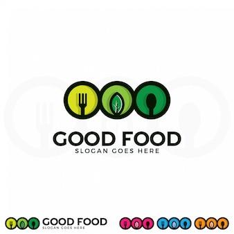 いい食べ物のロゴイラストテンプレート。