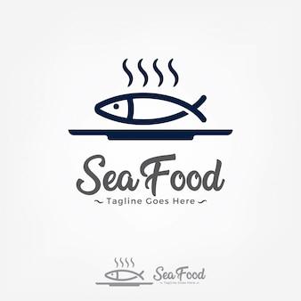 プレートに魚ロゴデザインベクトルテンプレート。