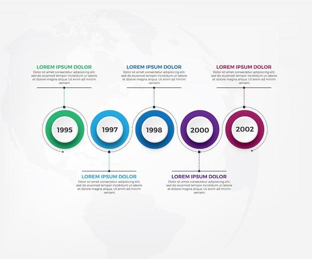 ビジネスタイムラインワークフローインフォグラフィックテンプレート