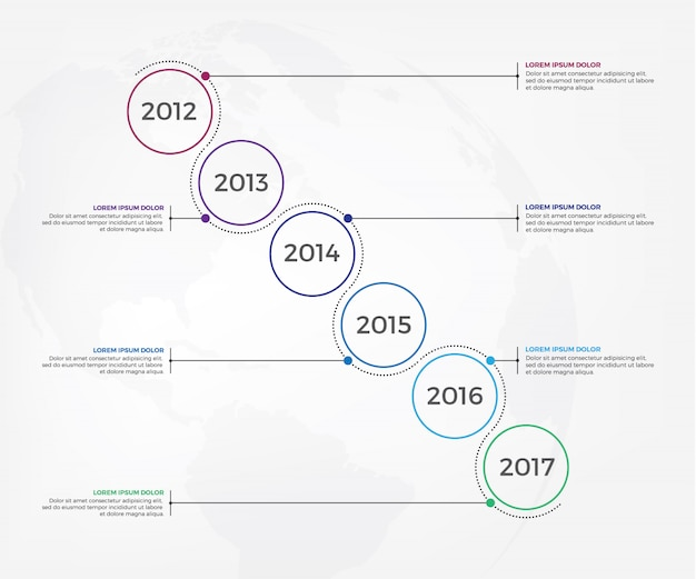 ビジネスタイムラインワークフローインフォグラフィック