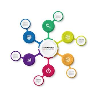 カラフルなミニマリストのインフォグラフィックデザイン