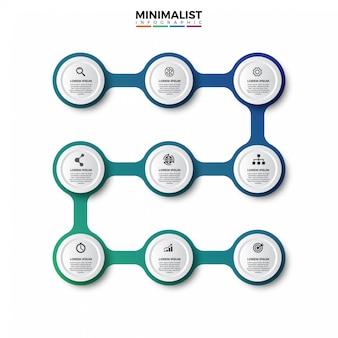 カラフルなインフォグラフィックタイムラインデザイン