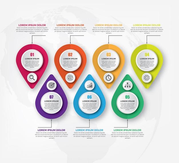 インフォグラフィックビジネス水平タイムラインデザインテンプレート
