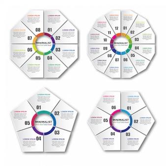 円形のインフォグラフィックデザイン要素のセット
