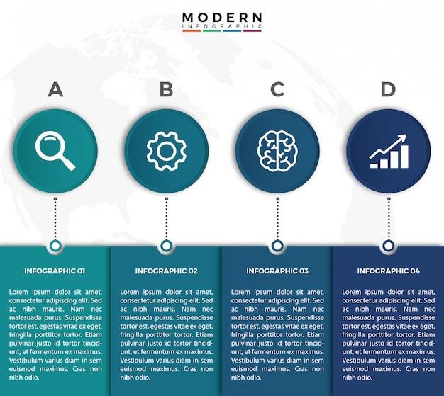 モダンでシンプルなインフォグラフィック細線デザイン