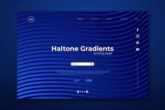 最小限のハーフトーングラデーションのランディングページ。