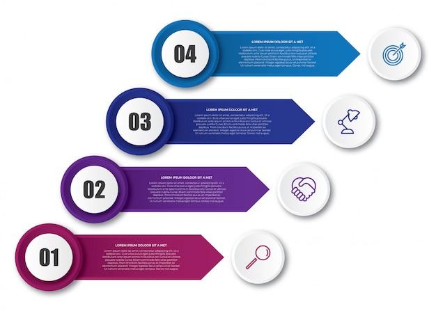 矢印の付いたビジネスインフォグラフィックテンプレート