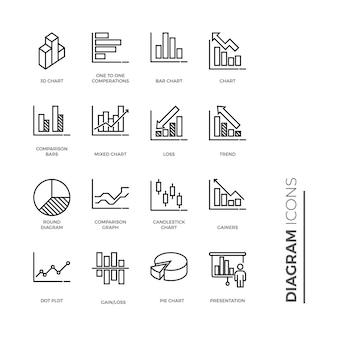 グラフと図のアイコン、アウトラインアイコンのセット