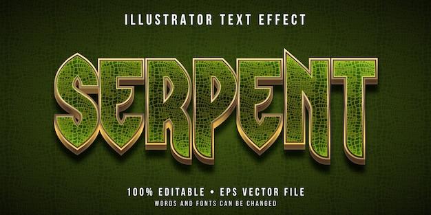 Редактируемый текстовый эффект - стиль текстуры змея