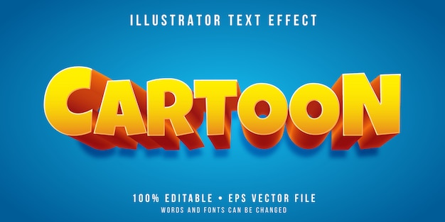 Редактируемый текстовый эффект - стиль мультфильма