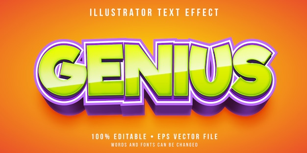Редактируемый текстовый эффект - мультяшный гениальный стиль
