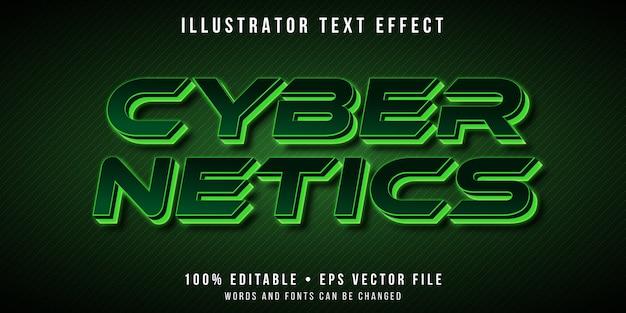 Редактируемый текстовый эффект - зеленый неоновый стиль текста