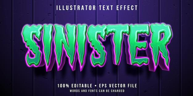 Редактируемый текстовый эффект - зеленый стиль хэллоуина