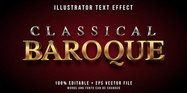 Редактируемый текстовый эффект - стиль барокко серебро и золото