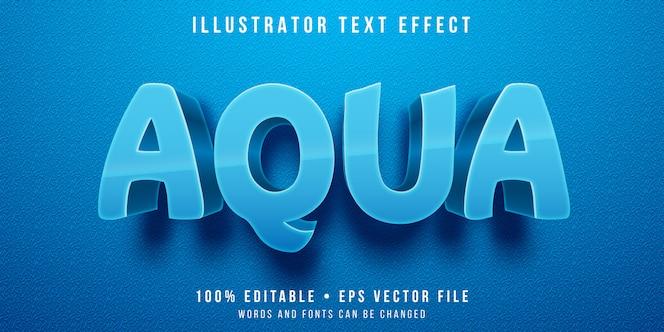 Редактируемый текстовый эффект - синий аква-стиль