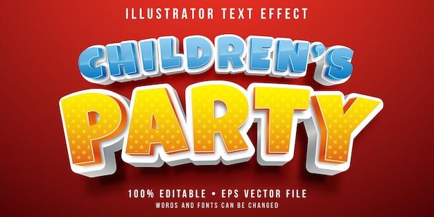Редактируемый текстовый эффект - стиль детской вечеринки