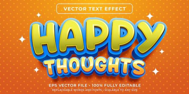 編集可能なテキスト効果-幸せな思考スタイル