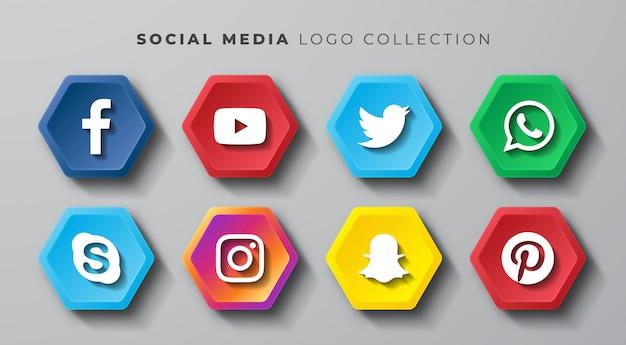 ソーシャルメディアのロゴ六角形セット