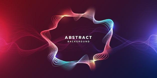 未来の抽象的な輝く波と技術の背景
