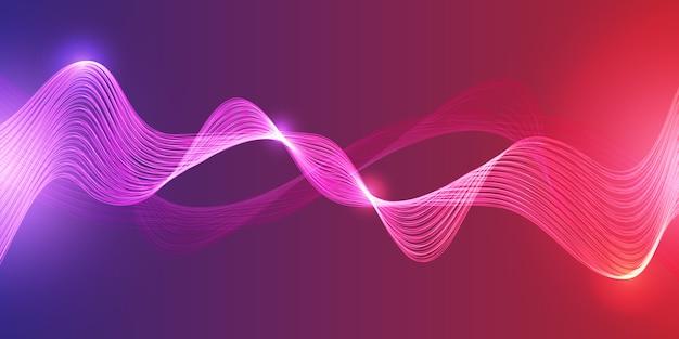 抽象的なテクノロジーの輝く波の未来的な背景