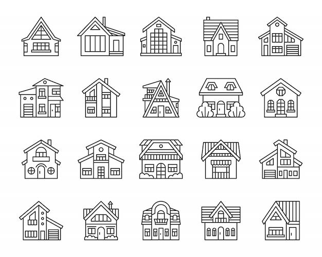 家ラインのアイコンセット、建物の外観、コテージタウンシップの単純な線形記号。