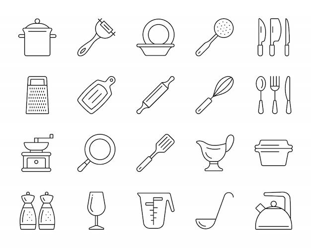 キッチン用品ラインのアイコンセット、調理器具の簡単な記号、料理用食器。