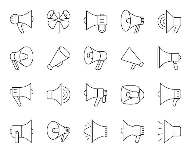 メガホンラインのアイコンセット、スピーカーサイン、マーケティング、プロモーション用品、拡声器シンプルな黒いシンボル