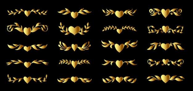Золотое сердце и богато украшенный цветочный набор элементов