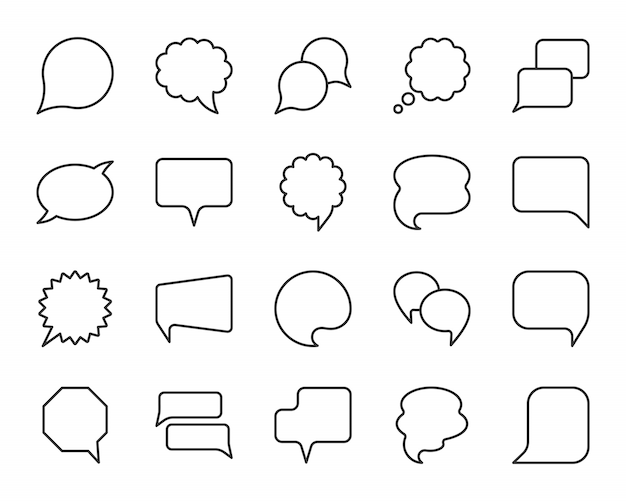 Речи пузырь черная линия простые иконки набор, комиксов скажите, знак чата связи.