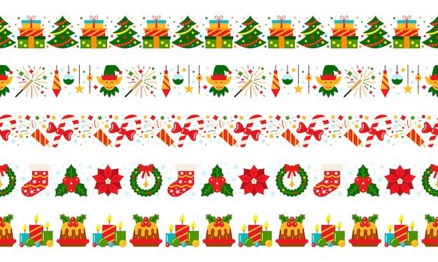 クリスマスシームレスな境界線赤緑新年フラットアイコンパターン、ストライプクリスマスバナー、パーティーガーランド。