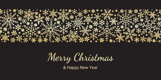 Снежинка бесшовные границы золото рождество, новый год, зимний снег рисунок.