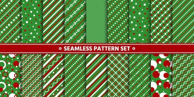 Бесшовные шаблон линии круг звезды набор, бумажная упаковка, зеленый красный белый.